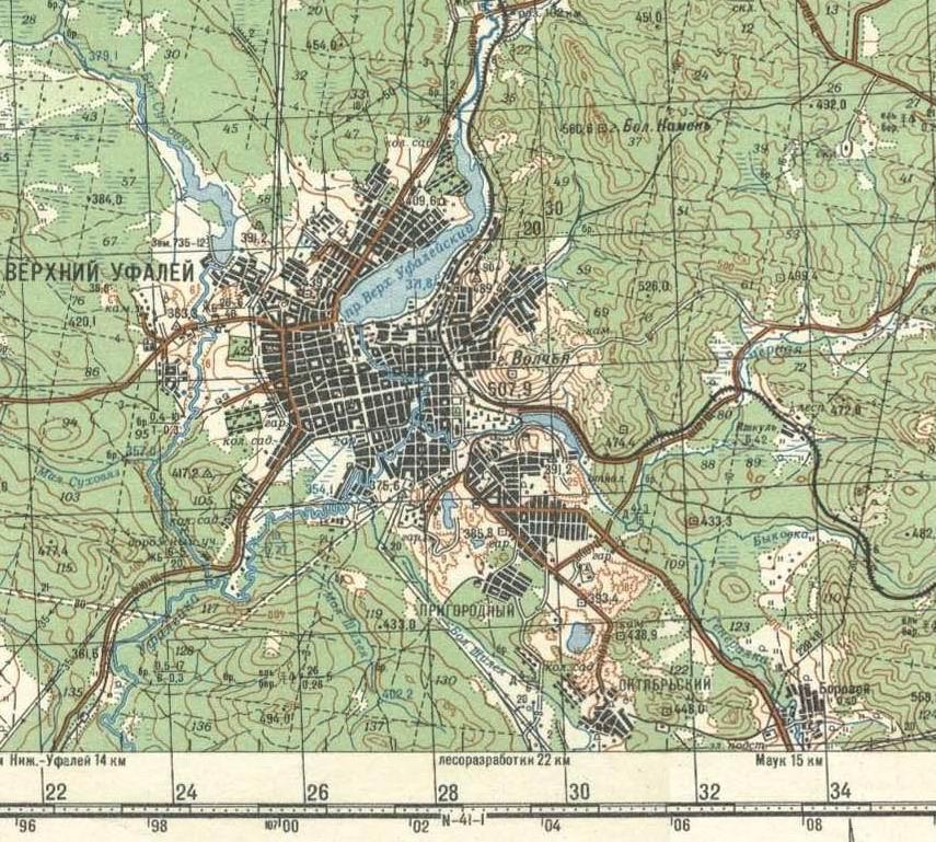 Верхний Уфалей, Карта города